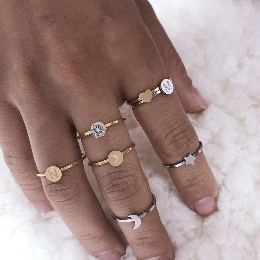 constella ring stainless steel rings for women men silver gold finger ring constellations couple female jewellery girl