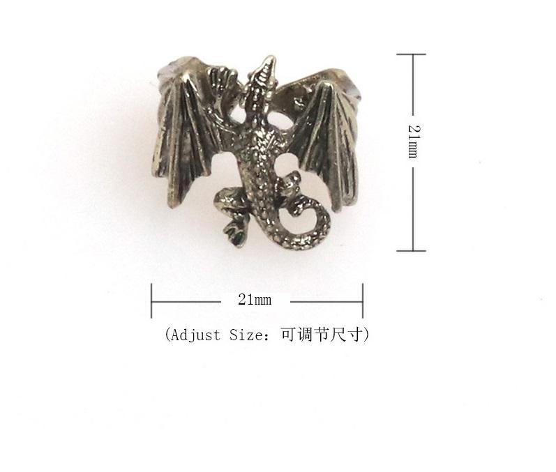 1pc Men Women Punk Brass Cool Wings Flying Chinese Dragon Ring
