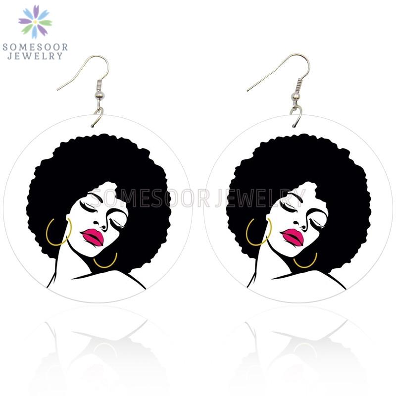 SOMESOOR Afro Melanin Girl Magic Printed Wooden Drop Earrings African Natural Hair Hoops Design Jewelry For Black Women Gifts