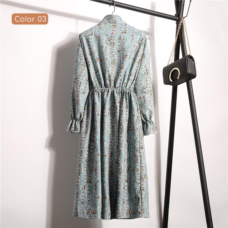 High Elastic Waist Vintage Dress A-line Women Full Sleeve Flower Plaid Print Dresses